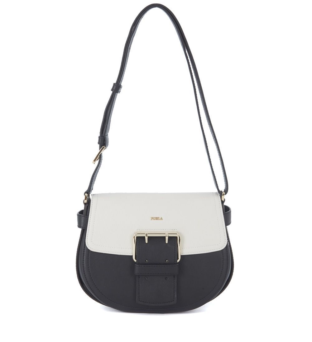 送料込 Furla Hashtag Black And White Bicolor Leather  バッグ