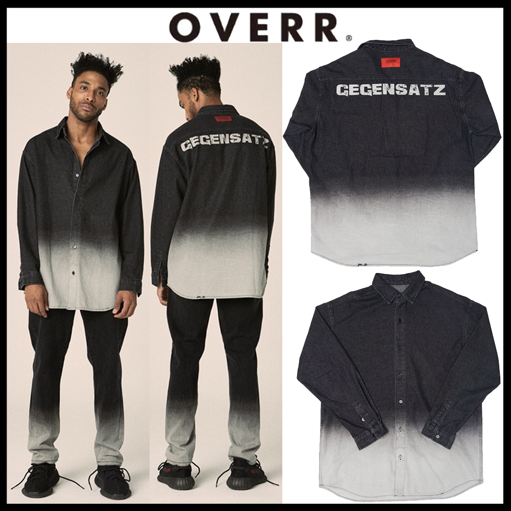 韓国の人気[OVERR]★17FW WASHING BLACK DENIM SHIRTS
