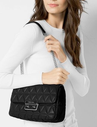 【セール】MK Sloan Large Quilted Shoulder Bag Black/Silver