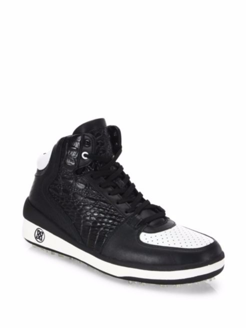 G/FORE メンズゴルフシューズ CRESADERS High Top 白/黒 大人気