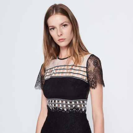 sandro DRESS WITH DIFFERENT STYLES OF LACE