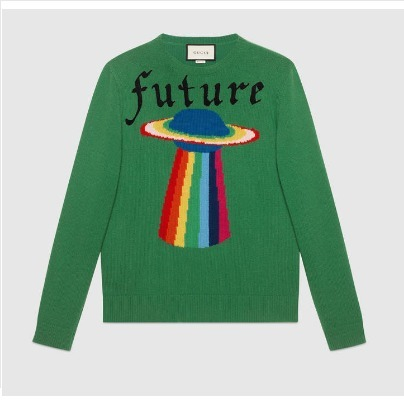 残りわずか【GUCCI】Wool sweater with planet intarsia Green M