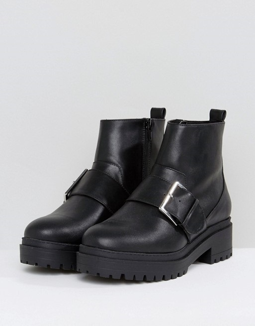 ASOS ACCELERATE Chunky Buckle Ankle Boots♪