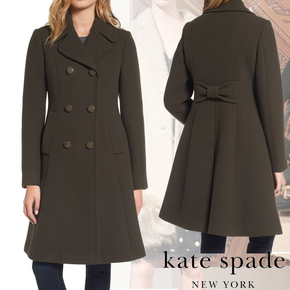 KATE SPADE★大人気★twill fit & flare ロングピーコート