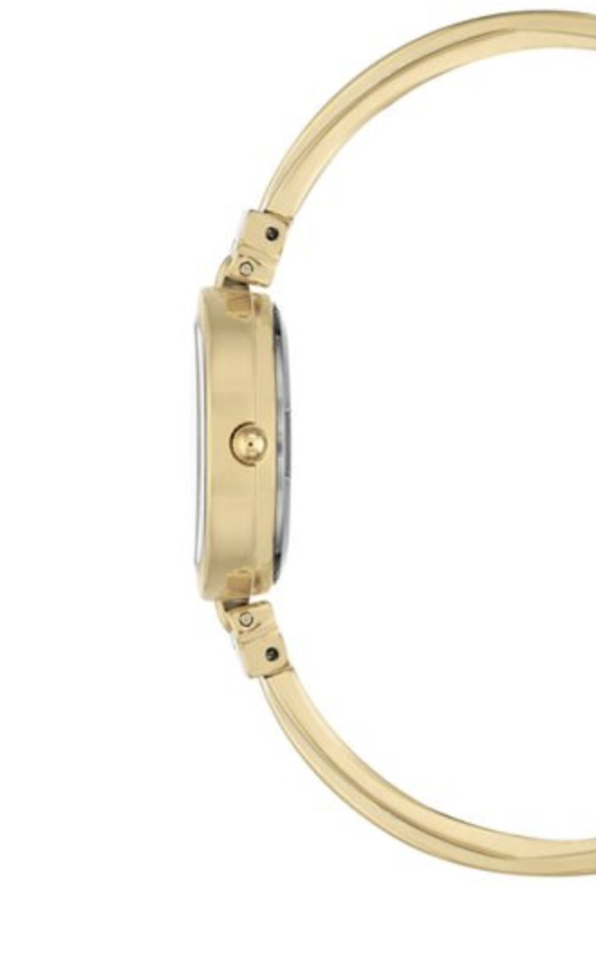 Women's Diamond Accent Gold-Tone and White Enamel Bangle