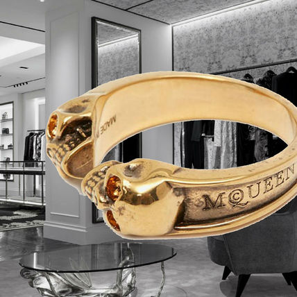 *Alexander McQueen*Twin Skull Ring ANTIQUE GOLD スカルリング