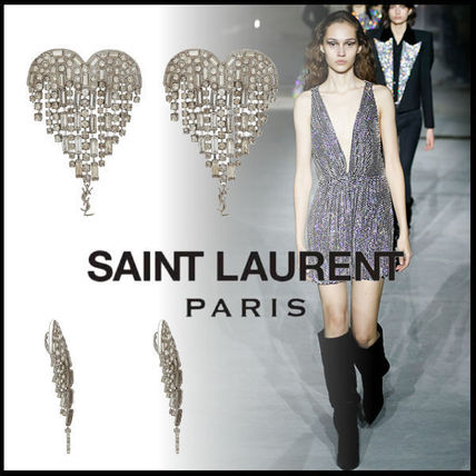 送料関税込☆SAINT LAURENT SMOKING SHOOTING HEART EARRINGS