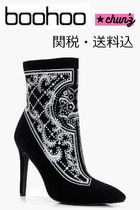 関送込 Premium Kara Embroidered Ankle Shoe Boot ブーツ