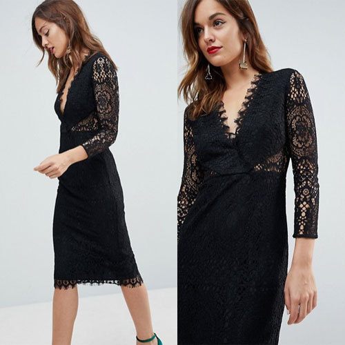 国内発送 ASOS Long Sleeve Lace Midi Pencil Dress