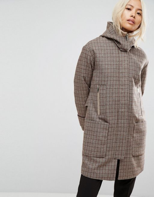 日本未入荷  ASOS Hooded Check Coat with Rib Funnel Ne コート