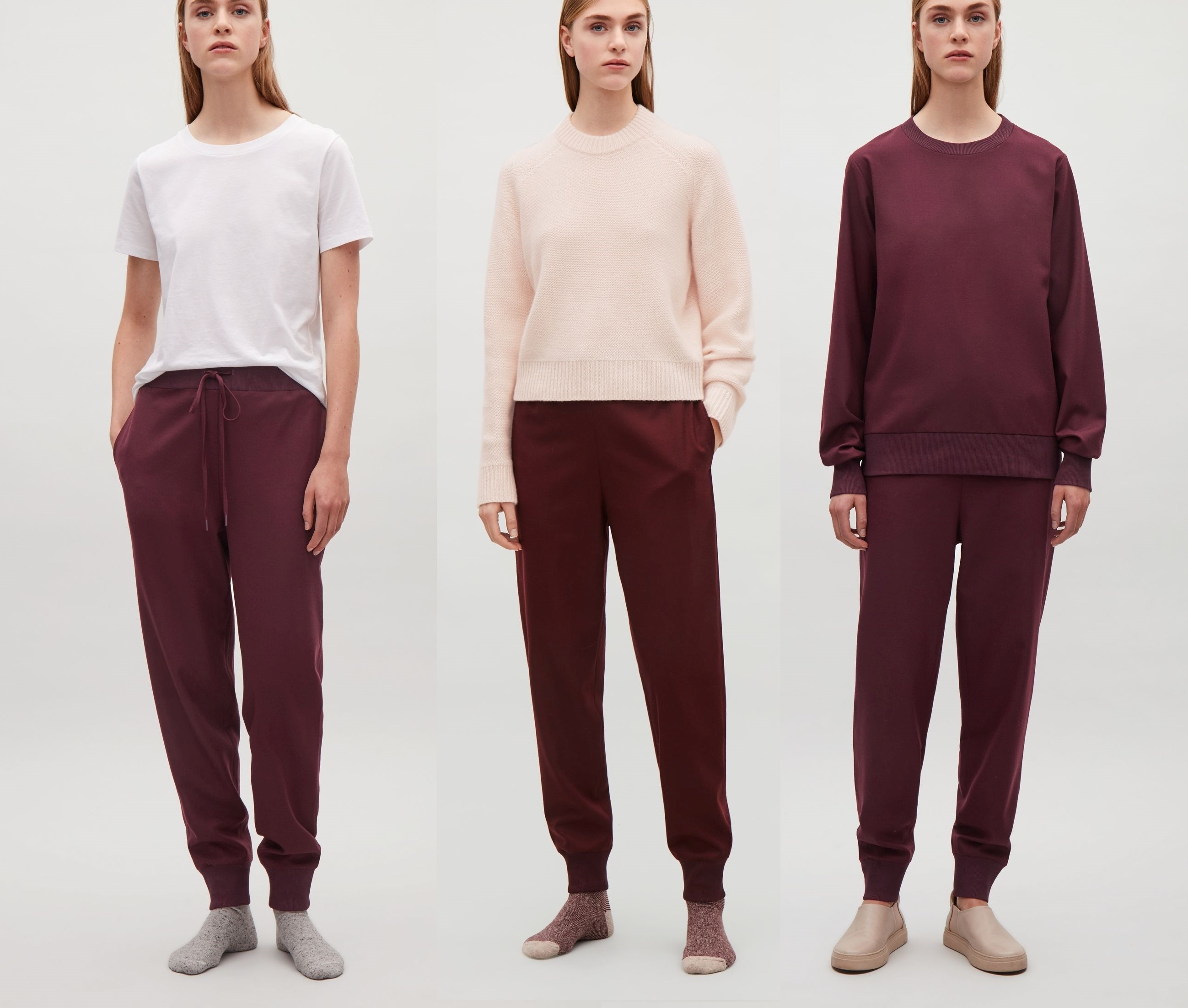 """""""COS""""WOOL TROUSERS WITH ELASTIC WAISTBAND BURGUNDY"""