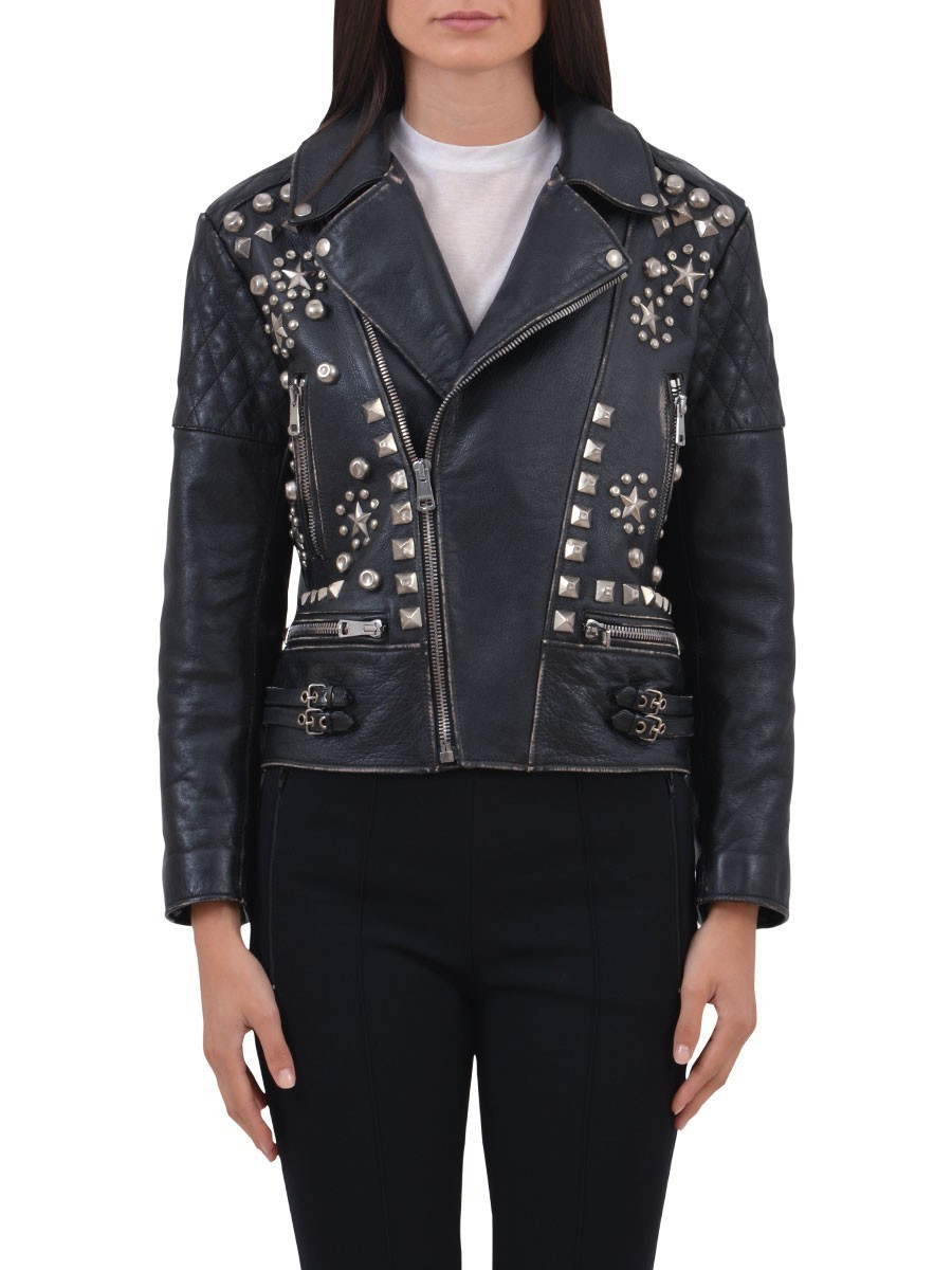 最新作17AW★GUCCI★グッチ Studded Leather Jacket
