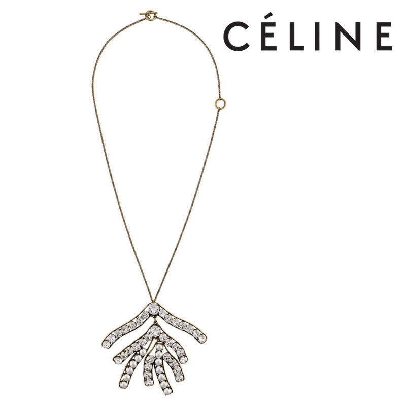 【17AW】大人気!!★CELINE★oversized crystal pendant necklace