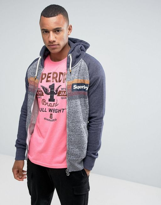 関税 送料込み Superdry Zip Through Hoodie with Colour  人気