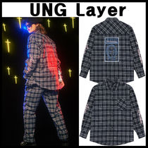 独特なブランドUNG Layer★F.O.W Check Shirt_navy