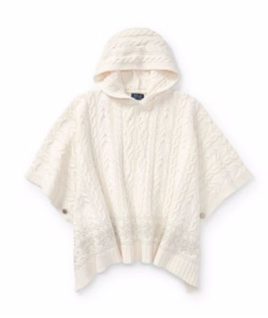 新作!大人もOK ♪ Aran-Knit Hooded Poncho girls 7~16