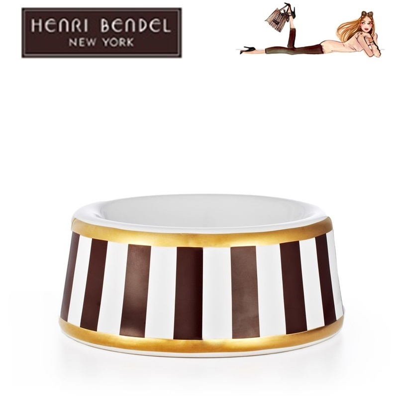 Henri Bendel  STRIPE SMALL DOG BOWL わんちゃんフードボウル
