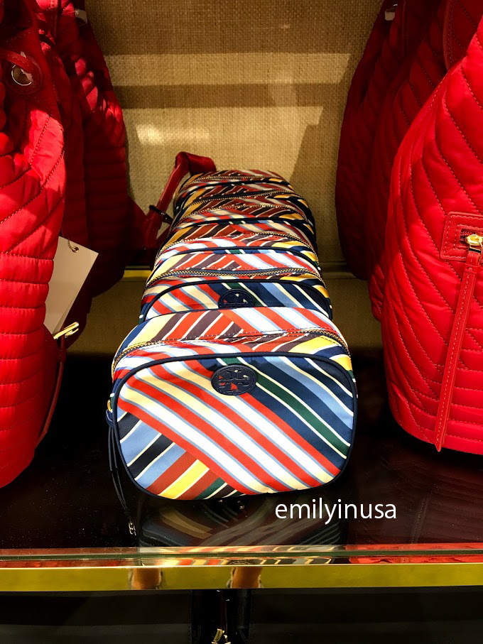 SALE! TORY BURCH★ELLA STRIPE COSMETIC CASE*カラフル