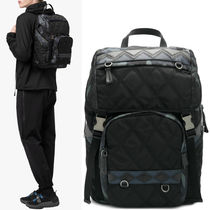 PRM105 QUILTED NYLON & SAFFIANO BACKPACK