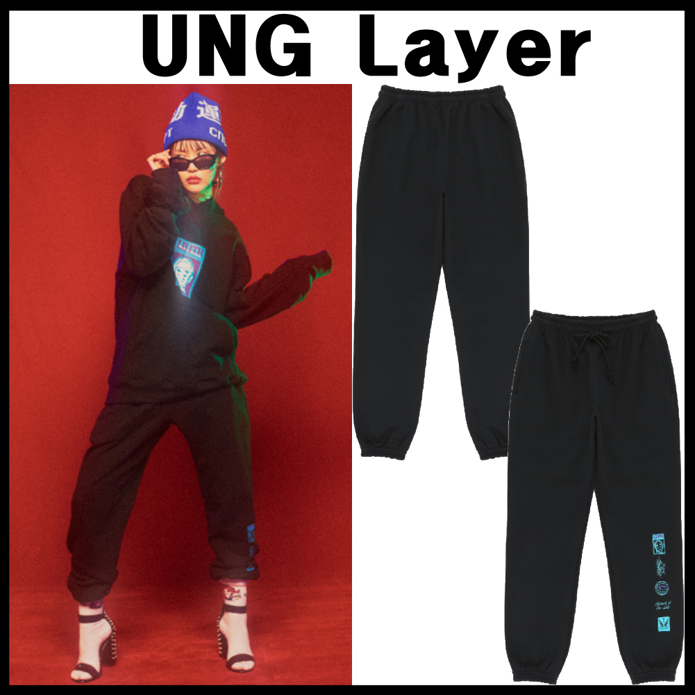 独特なブランドUNG Layer★lilith jogger pants_black