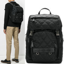 PRM107 QUILTED NYLON & SAFFIANO BACKPACK