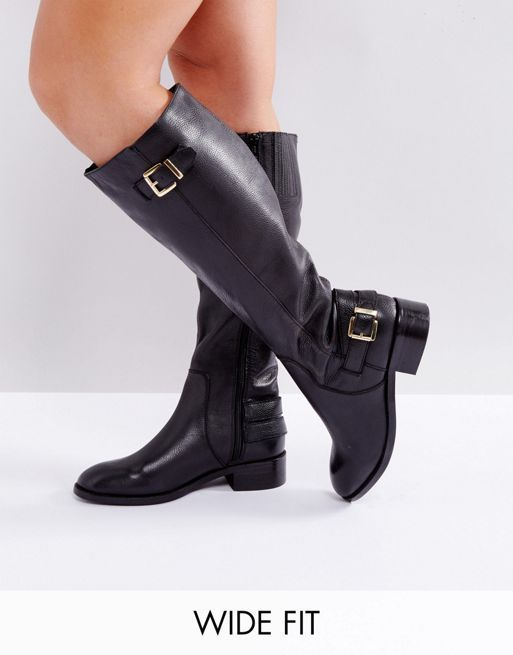 送料・関税込み!ASOS CLUED UP Wide Fit Leather Knee B ブーツ
