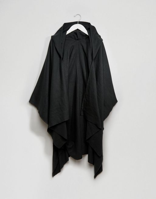 送料・関税込み!ASOS Cape In Black Oversized With H スカーフ