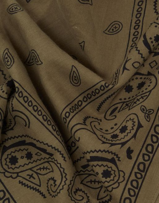 送料・関税込み!ASOS Bandana In Khaki With Paisley  スカーフ