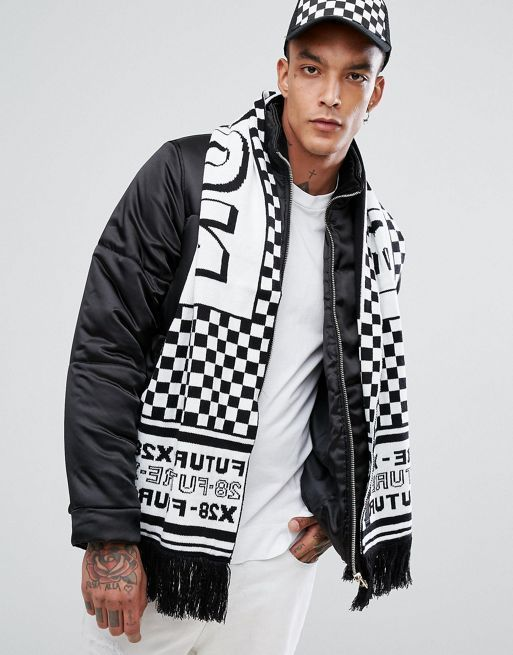 送料・関税込み!ASOS Knitted Football Scarf In Blac スカーフ