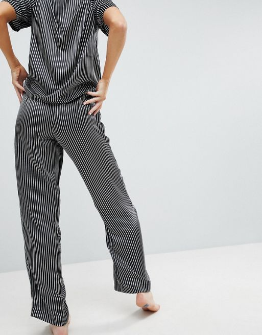 関送込 ASOS Mono Stripe Satin Wide Leg Pyjama Trous パジャマ