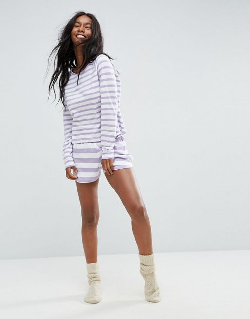 関送込 ASOS ASOS Lilac Stripe Long Sleeve Long Slee パジャマ