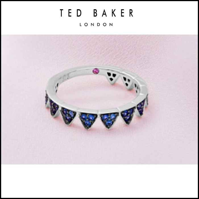 【TED BAKER】 9ct white gold and blue sapphire crown ring