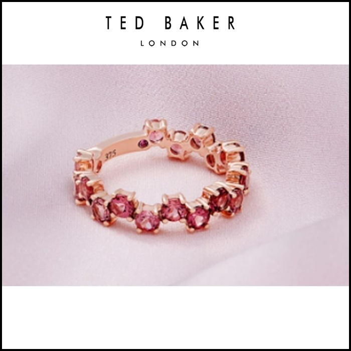【TED BAKER】 9ct rose gold and pink tourmaline shuffle ring