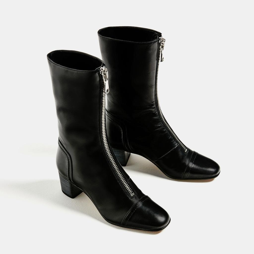 ●ZARA●タイムセール♪LEATHER HEEL ANKLE BOOTS☆25.5cm