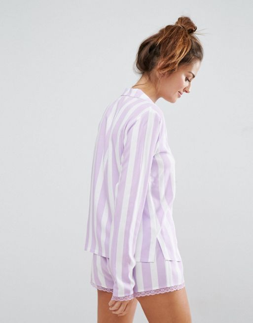 関送込 ASOS Candy Stripe Shirt and Short With Lace  パジャマ