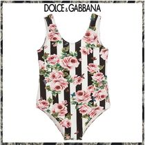 Dolce & Gabbana ★Pink Rose Striped スイムスーツ★2-12Y