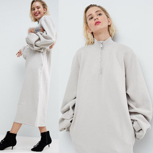 国内発送ASOS WHITE Oversized Sweat Dress With Tuck Sleeves