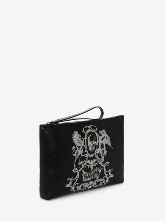 *Alexander McQueen*Coat of Arms Medium Pouch BLACK/IVORY