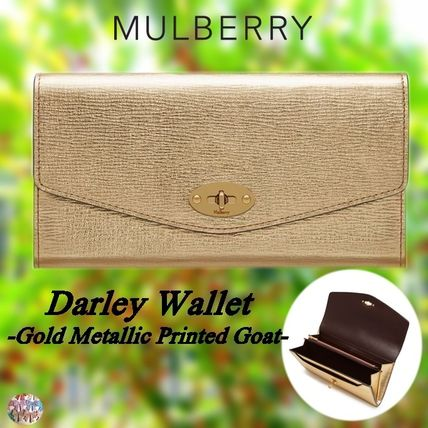 Mulberry 長財布 Mulberry☆Darley Wallet 長財布 カード用スロット12枚 ゴールド