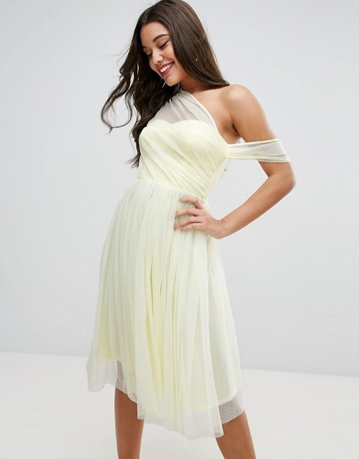 ★送料/関税無料★ ASOS Dobby Mesh One Shoulder Prom Dress
