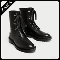★ZARA★ザラ  LEATHER ANKLE BOOTS WITH METALLIC DETAIL