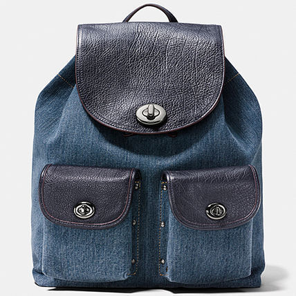 大人気商品★Coach Turnlock Rucksack In Clolorblock Denim★