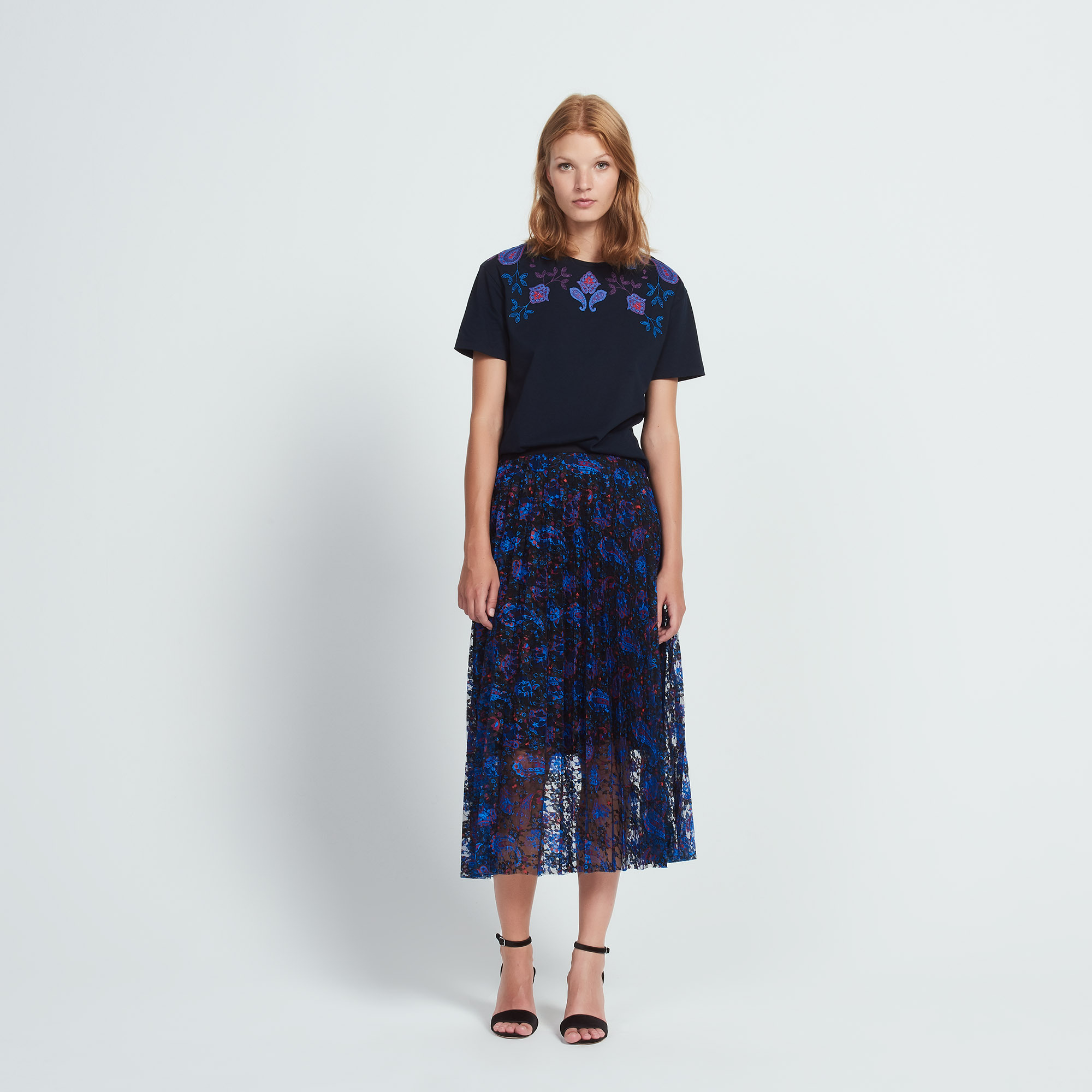 日本未入荷【sandro】Printed skirt with sheer effect スカート