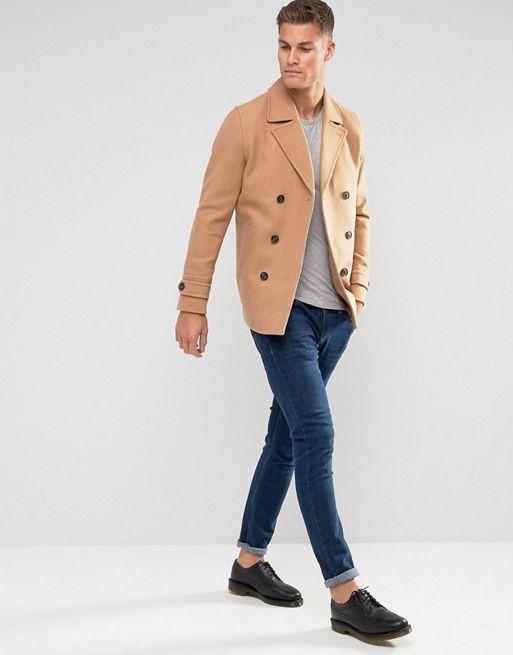 ★関税送料込★ASOS Wool Mix Peacoat In Light Camel コート
