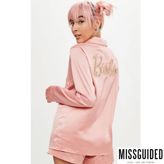 【Missguided】Barbie×Missguided ピンクサテン パジャマセット