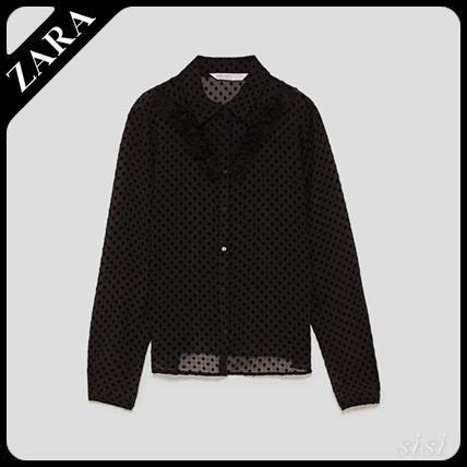 ★ZARA★ザラ  POLKA DOT FLOCKED BLOUSE