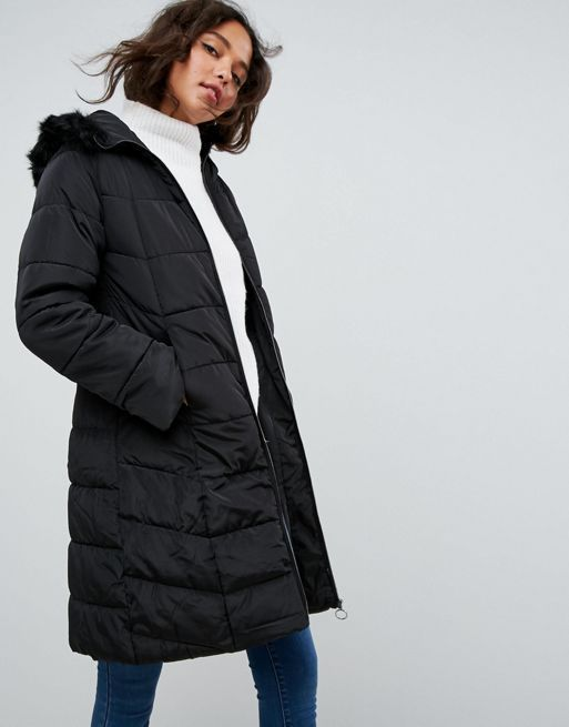 送料込み☆ASOS Longline Puffer Coat with Faux Fur Tri コート