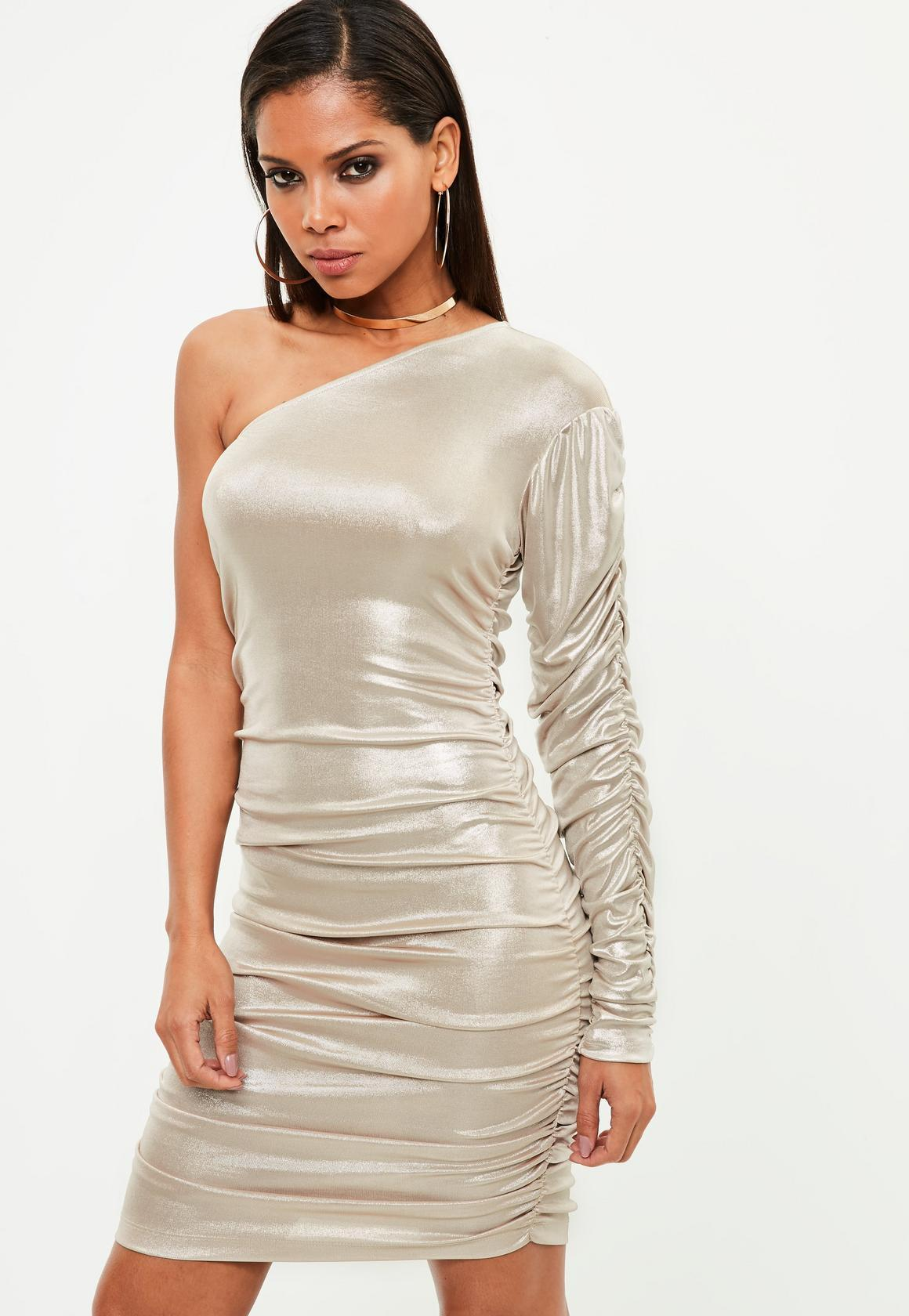 【海外限定】Missguided人気ドレス☆Metallic One Shoulder Ruch