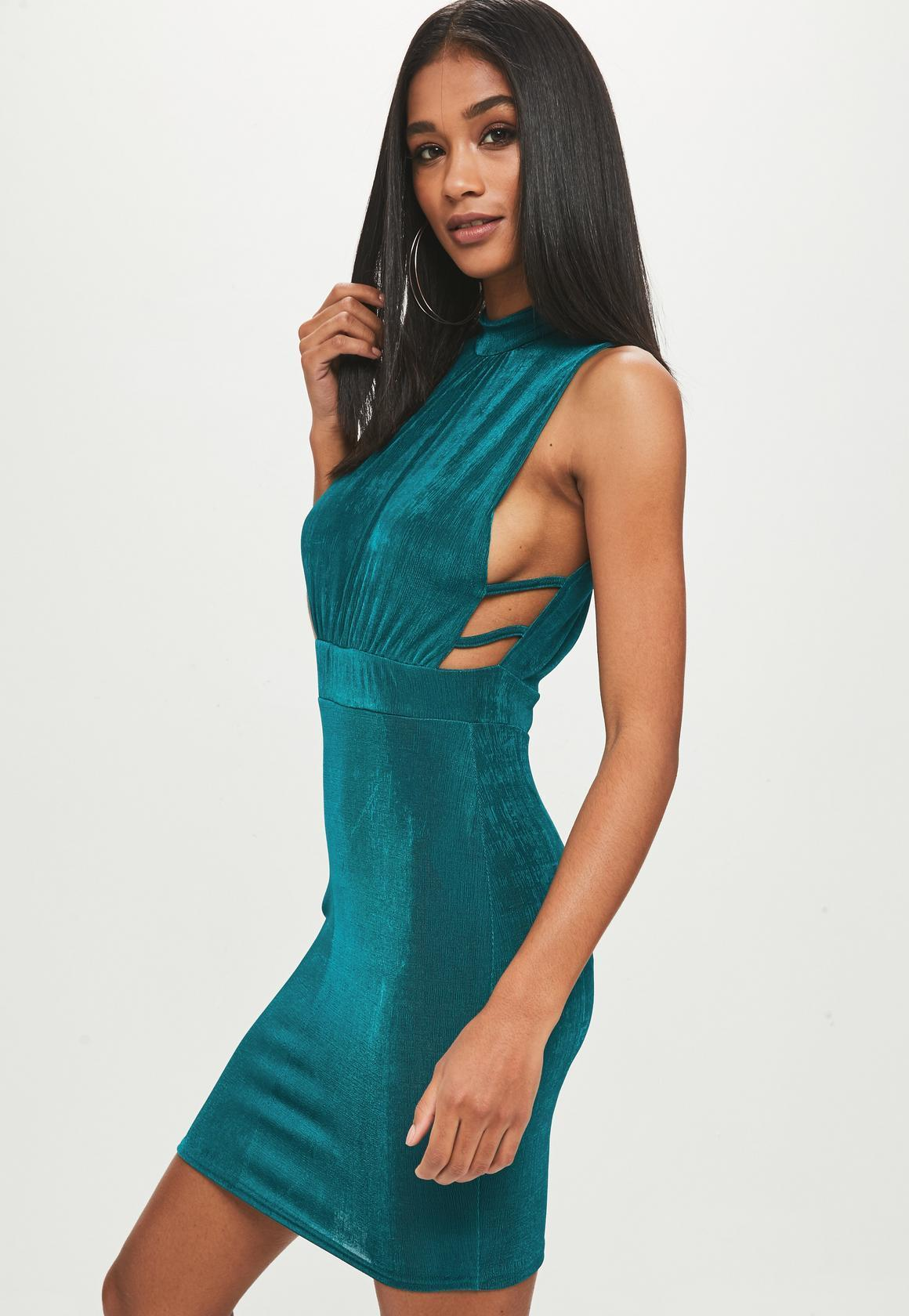 【海外限定】Missguided人気ドレス☆Teal slinky high neck dres