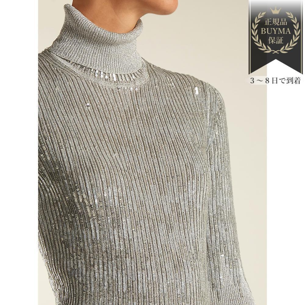 SALE▼Roll-neck sequin装飾 ribbedニット セーター
